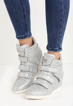 Sneakers Dama Platforma Ascunsa Betler Silver Adidasi Zappatos Ro